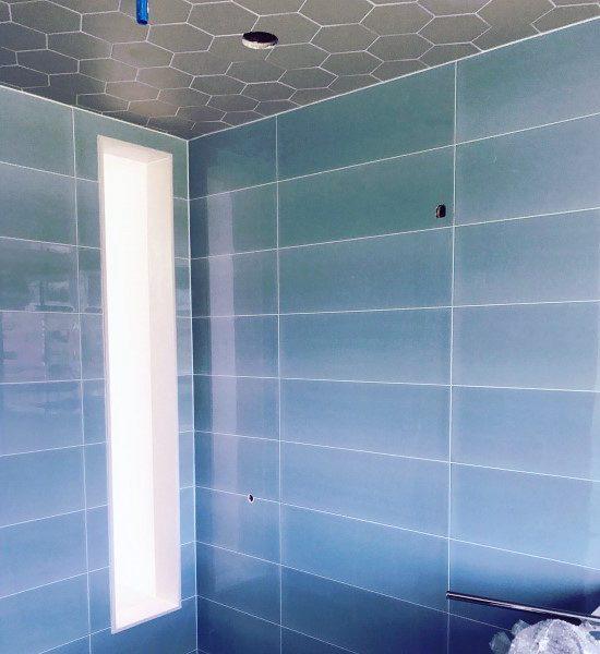 Grey Hexagon Tile Modern Bathroom Ceiling Designs