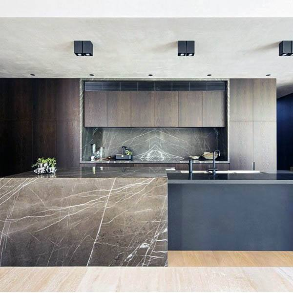 Grey Honed Marble Kitchen Island And Backsplash Design Ideas