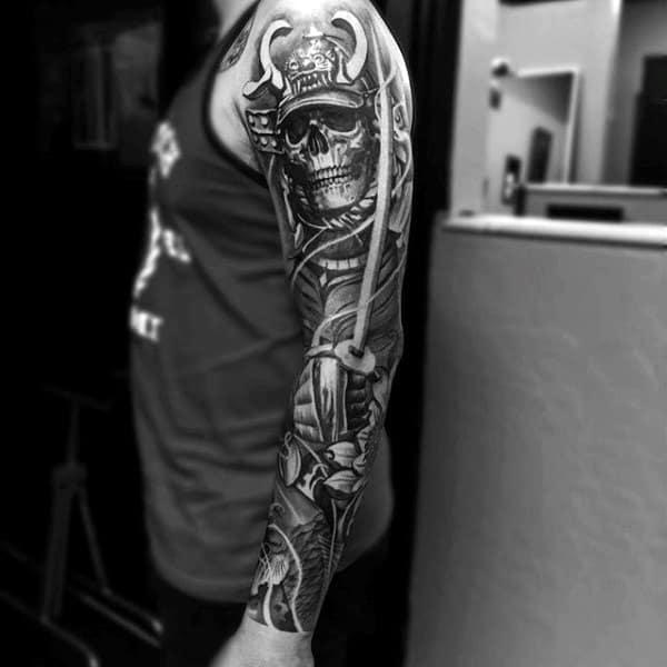 Grey Horned Skull Japanese Sleeve Tattoo