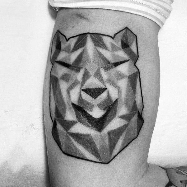 Grey Hues Geometric Bear Guys Bicep Arm Tattoos