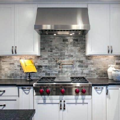 Grey Ideas For Stone Backsplash With White Kitchen Cabinets
