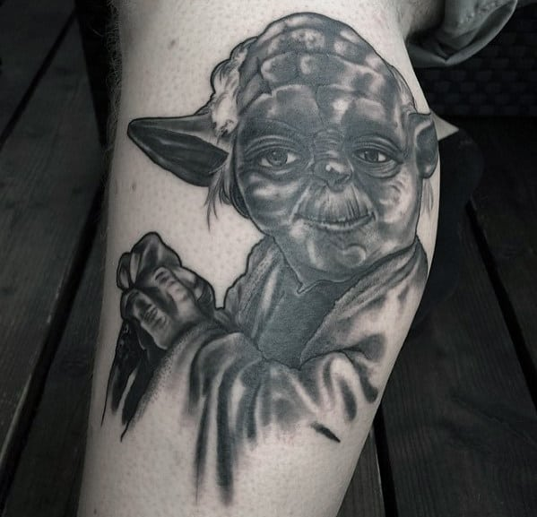 Grey Ink Heavily Shaded Male Side Of Leg Yoda Tattoos