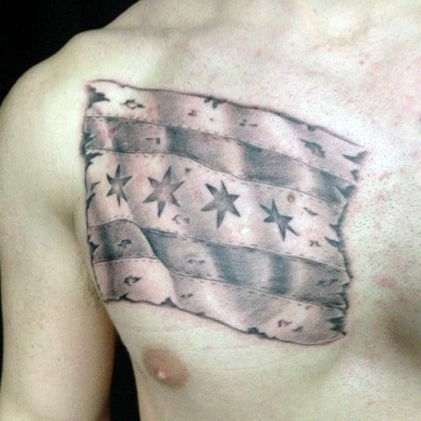 Grey Ink Shaded Male Chicago Flag Upper Chest Tattoo Ideas
