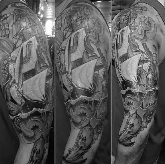 Grey Ink Shaded Male Kraken Sleeve Design For Tattoos