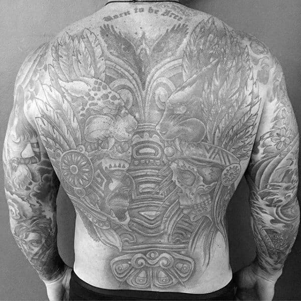 Grey Ink Shaded Mayan Guys Full Back Tattoo Ideas