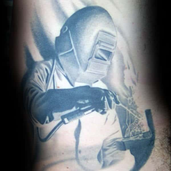 Grey Ink Shaded Welding Male Arm Tattoo Ideas