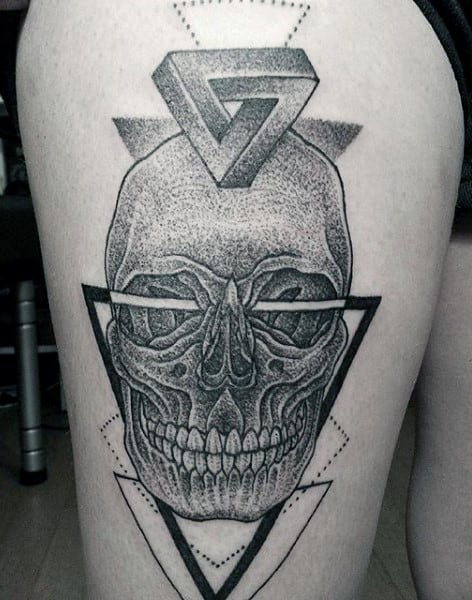 Grey Ink Skull And Penrose Triangle Tattoo On Thighs