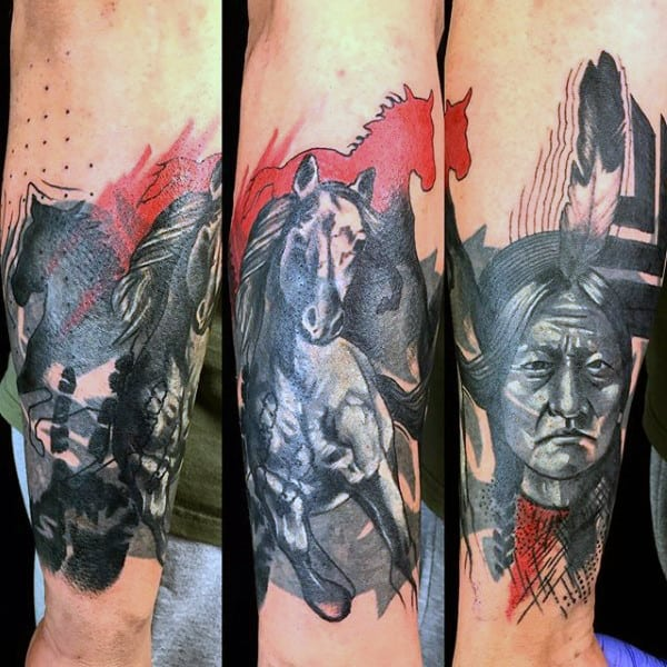 Grey Inked Native American And Horse Tattoo Guys Forearms