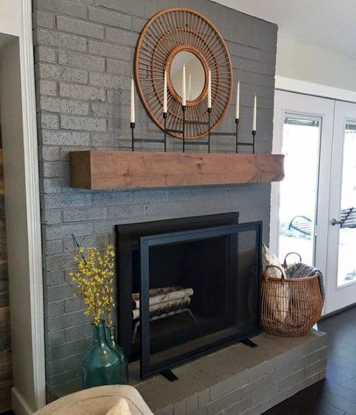Grey Interior Ideas For Painted Fireplace