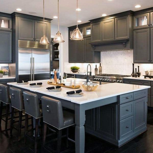 Grey Kitchen Cabinet Ideas With White Countertops