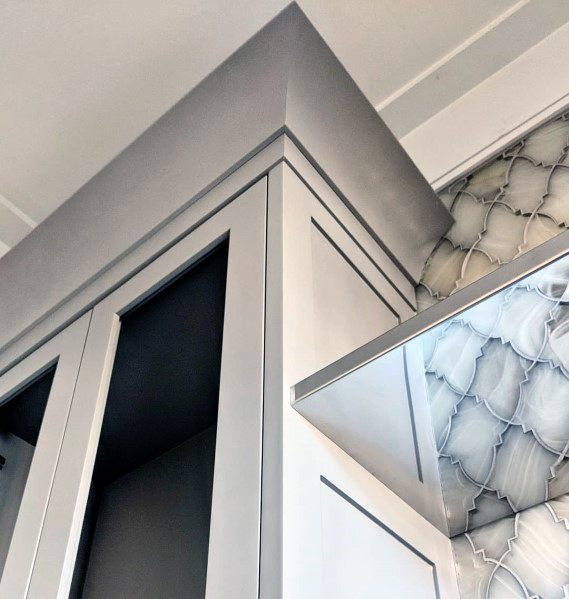 Grey Kitchen Cabinet Modern Crown Molding