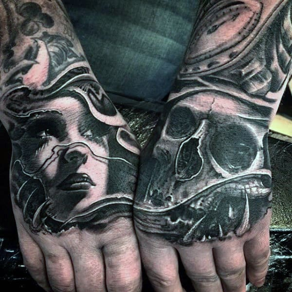 Grey Lady And Skull Manly Tattoo On Hands