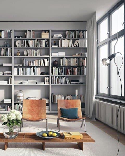 Grey Living Room Modern Floor To Ceiling Bookshelves