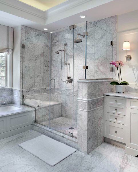 Grey Marble Designs Master Bathroom