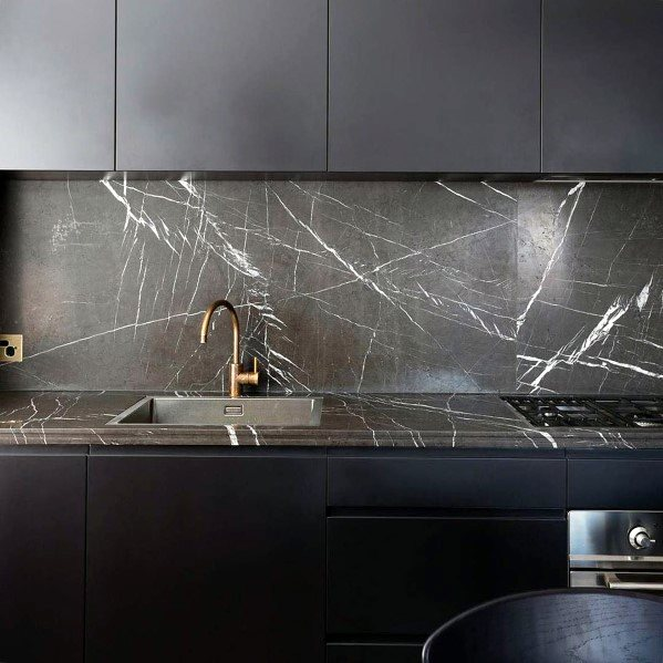 Grey Marble Modern Stone Backsplash Kitchen Ideas