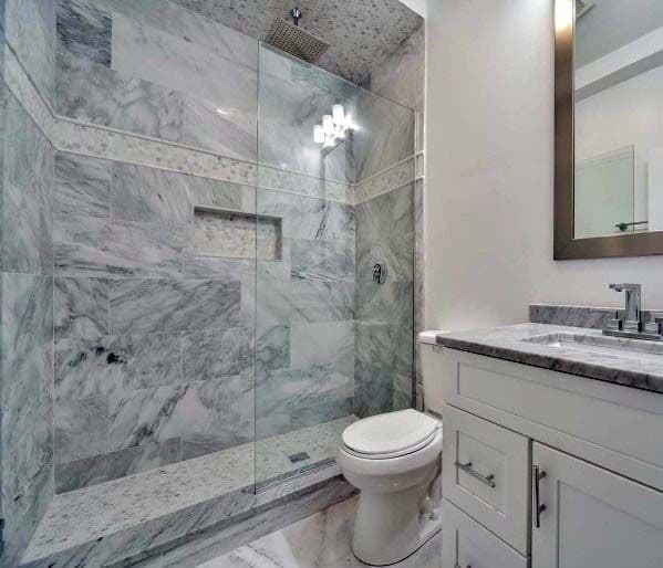 Grey Marble Shower White Bathroom Ideas