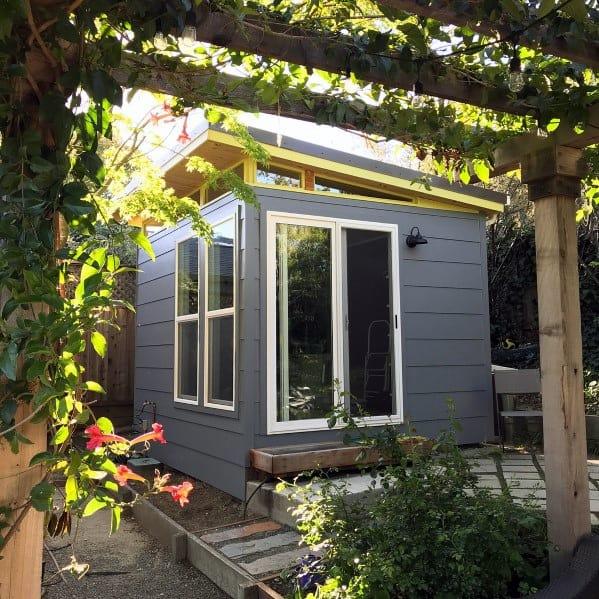 Grey Modern Backyard Shed Design Ideas