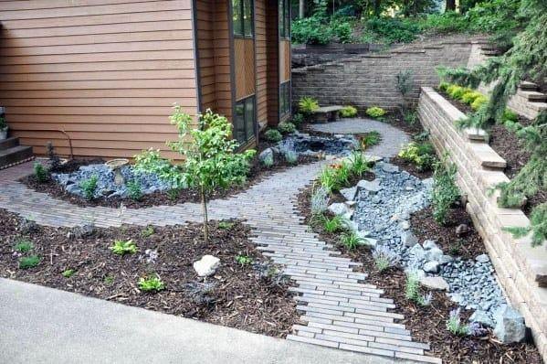 Grey Modern Home Ideas Paver Walkway