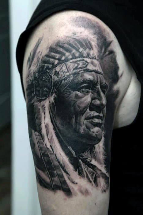 Grey Native American Profile Tattoo On Guys Arms