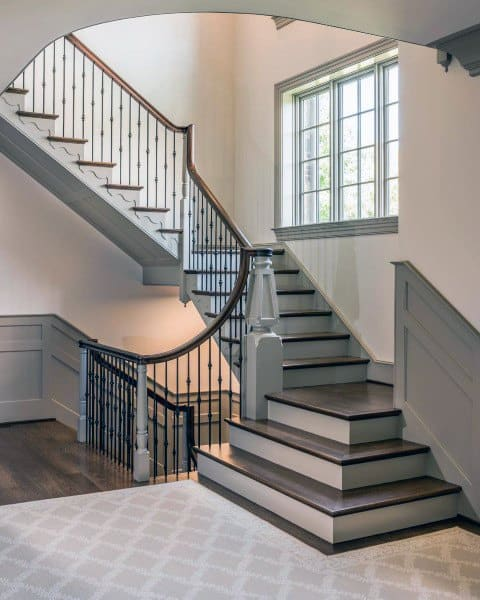 Grey Paint With Brown Wood Staircase Ideas