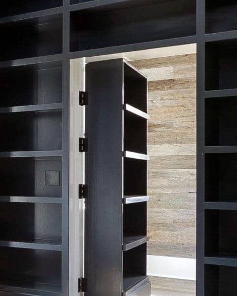 Grey Painted Bookcases On Hinges Design Ideas Hidden Door