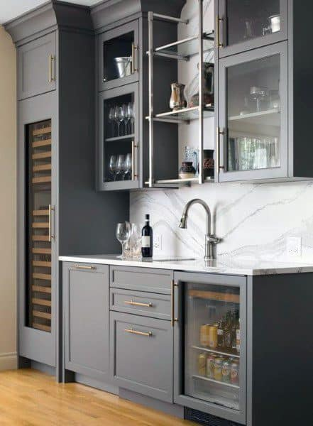 Grey Painted Cabinets Large Wet Bar Ideas With Marble Backsplash