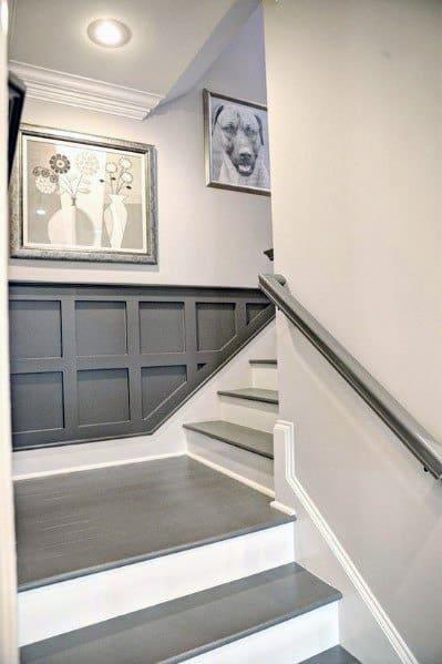 Grey Painted Designs Stair Trim