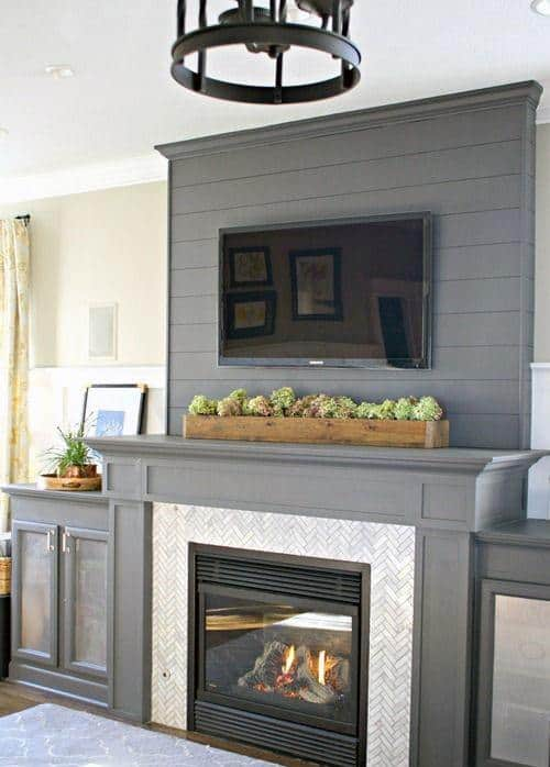 Grey Painted Fireplace Mantel Design