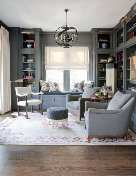 Grey Painted Floor To Ceiling Bookshelves Ideas