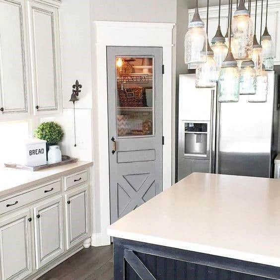 Grey Painted Good Ideas For Kitchen Pantry Door
