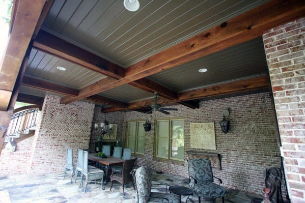Grey Painted Good Ideas For Porch Ceiling With Rustic Wooden Beams