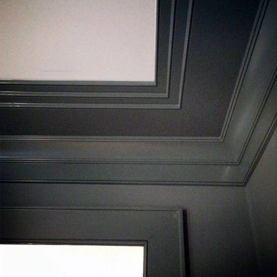 Grey Painted Modern Crown Molding Ideas