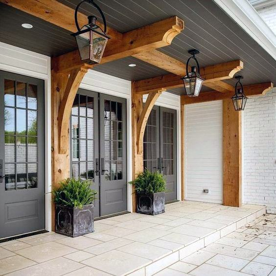 Grey Painted Outdoor Designs Porch Ceilings