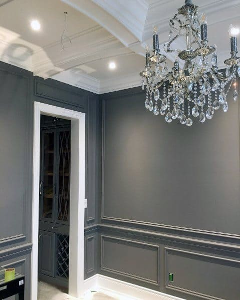Grey Painted Walls White Modern Baseboard Ideas Dining Rooms
