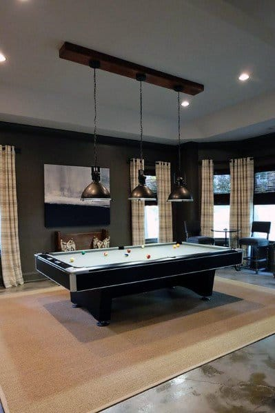 Grey Painted Walls With Concrete Floors Billiards Room Ideas