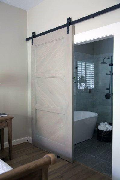 Grey Painted Wood Barn Door Ideas For Master Bathroom