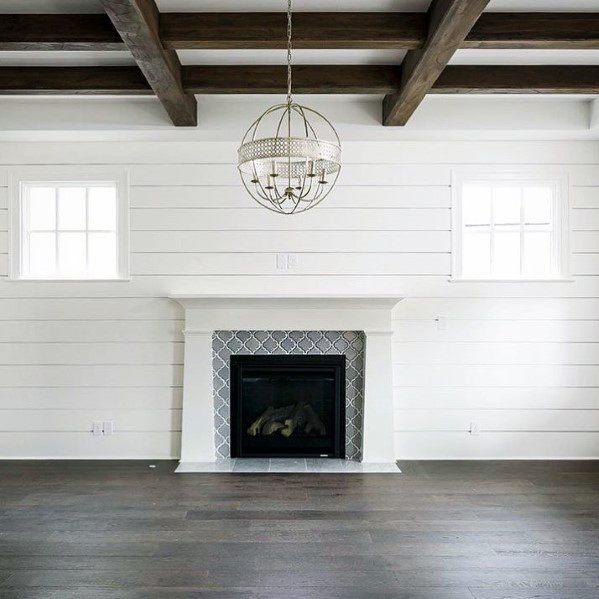 Grey Pattern Fireplace Tile Ideas Inspiration