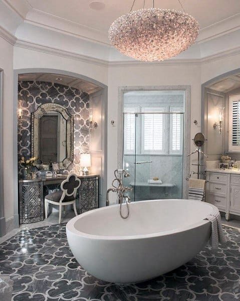 Grey Pattern Tile Flooring With White Bathtub Master Bathroom Ideas