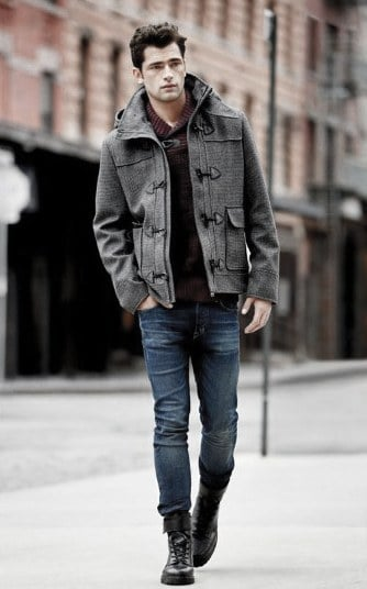 Grey Peacoat Guy Fall Outfits Style