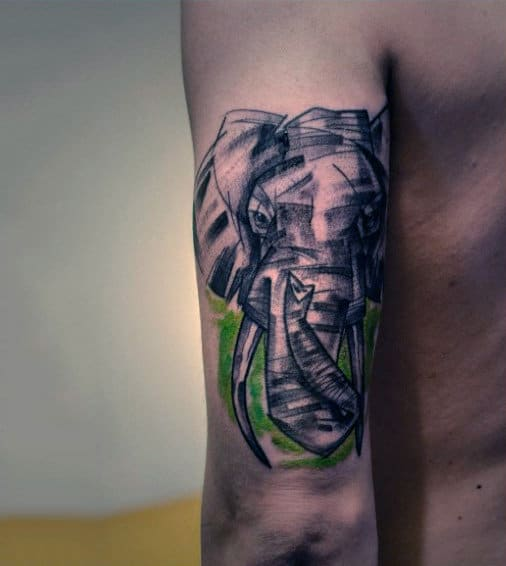 Grey Pencil Shaded Elephant With Green Smudge Tattoo Males Arms