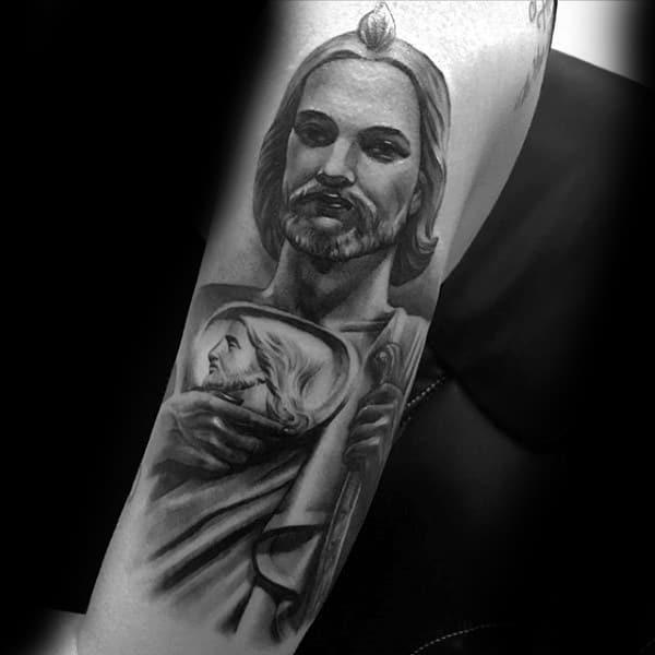 Grey Pencil Shaded Religious Tattoo Mens Forearms