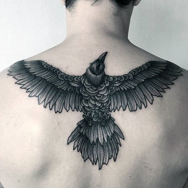 Grey Raven With Pretty Wings Pattern On Back For Guys