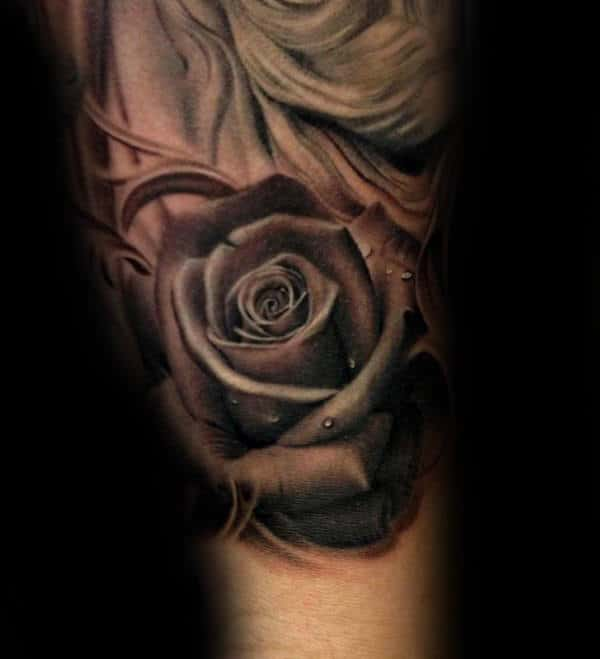 Grey Realistic Rose Male Forearm Tattoo Designs