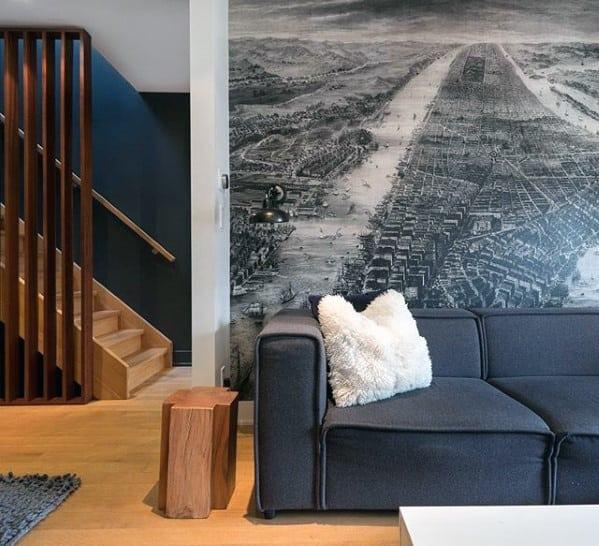 Grey Retro Cloth Sofa Bachelor Pad Furniture Designs