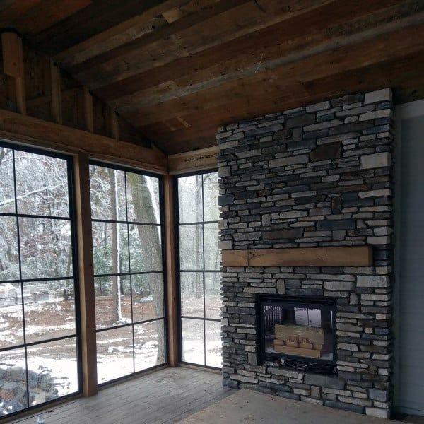 Grey Rock Stone Fireplace Design