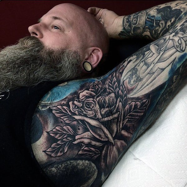 Grey Rose And Leaf Tattoo Male Armpit