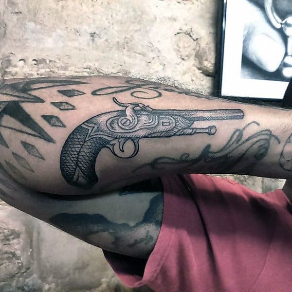 Grey Russian Pistol Tattoos On Forearms For Men