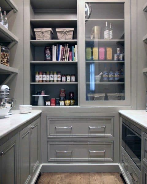 Grey Rustic Kitchen Pantry Ideas With White Countertops