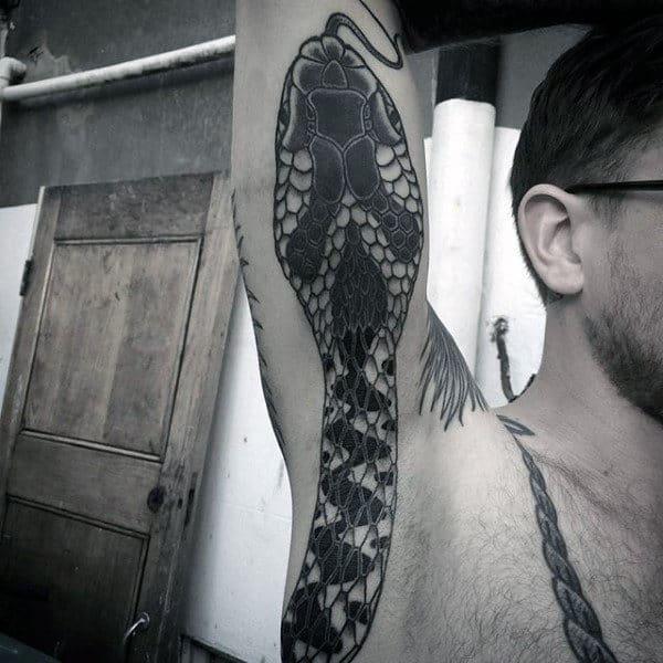 Grey Serpent Tattoo Male Armpits