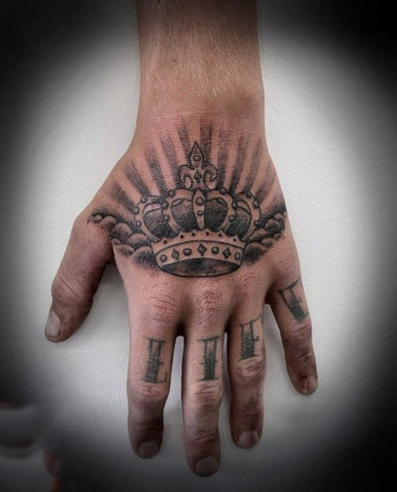 Grey Shaded Blazing Crown Tattoo On Hands